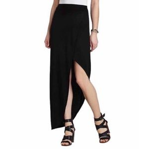 BCBGMAXAZRIA Black Mercer Ribbed Wrap Around Skirt